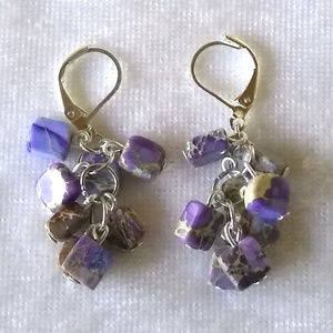 Jewelry - Lavender/tan natural jasper stone dangle earrings